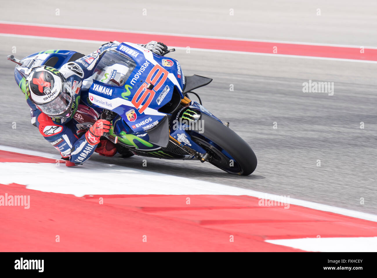 Jorge Lorenzo of Movistar Yamaha on his way to winning the 2016 Red Bull Grand Prix of the Americas at Circuit of Stock Photo