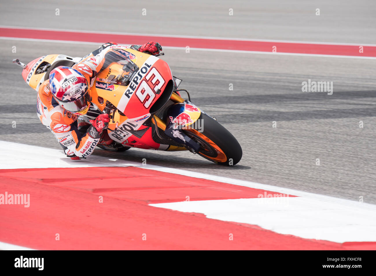 Marc Marquez of Repsol Honda Team on his way to winning the 2016 Red Bull Grand Prix of the Americas at Circuit Stock Photo