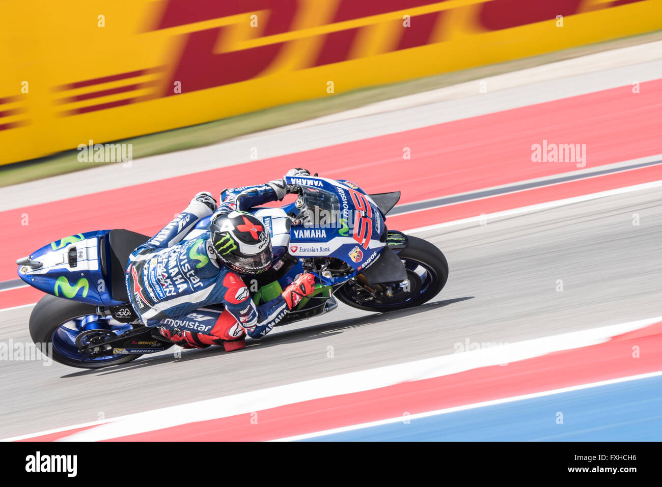 Jorge Lorenzo of Movistar Yamaha on his way to 2nd place in the 2016 Red Bull Grand Prix of the Americas. Stock Photo