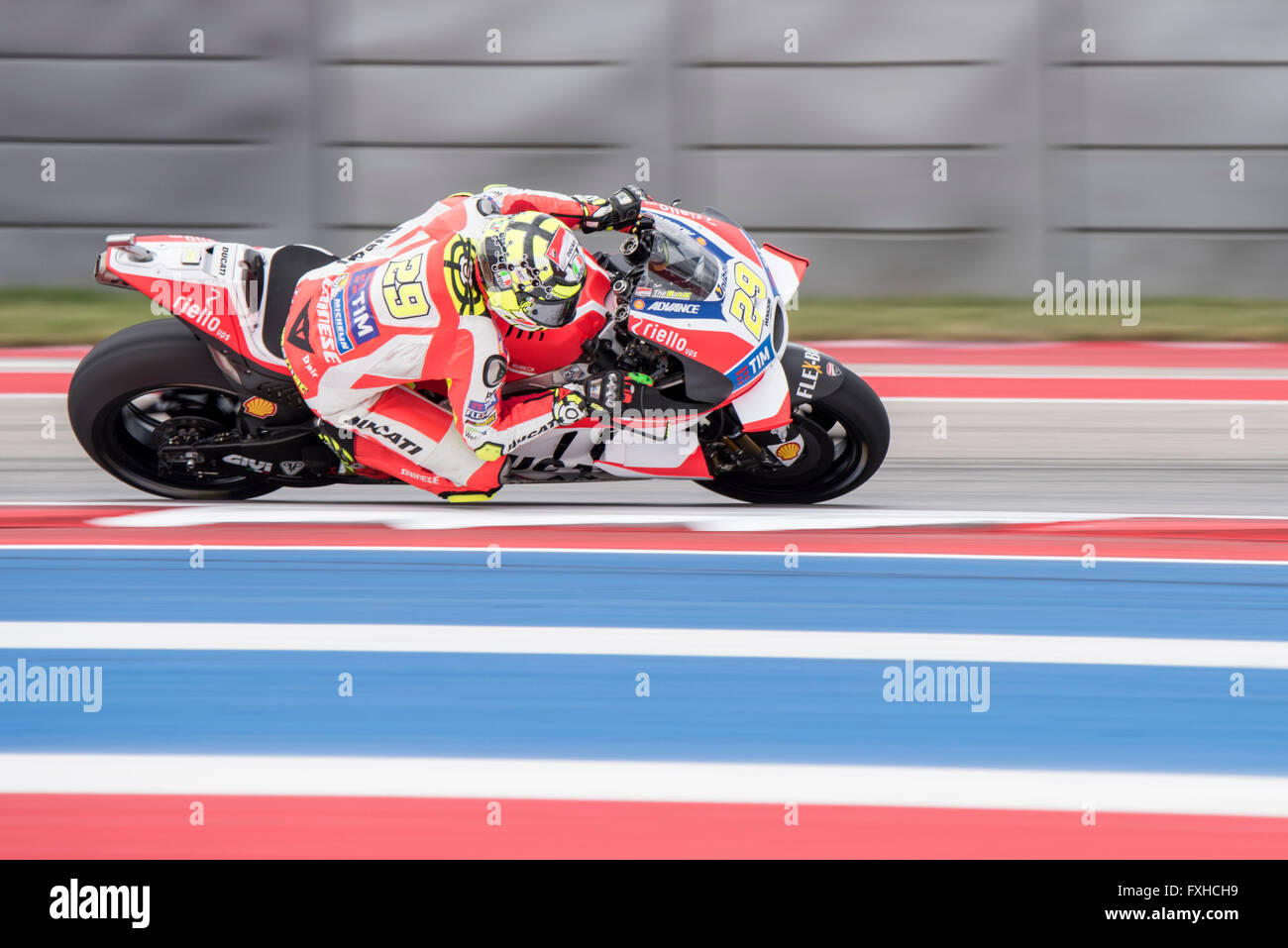 Andrea Iannone of Ducati on his way to 3rd place in the 2016 Red Bull Grand Prix of the Americas at Circuit of the Stock Photo