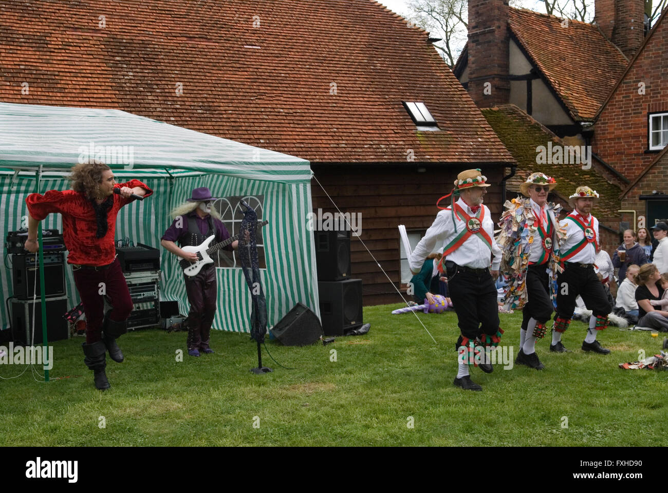 May Day Fair Glam Rock Band The Look and the Kennet Morris men at the Perch and Pike pub South Stoke Berkshire UK - Stock Image