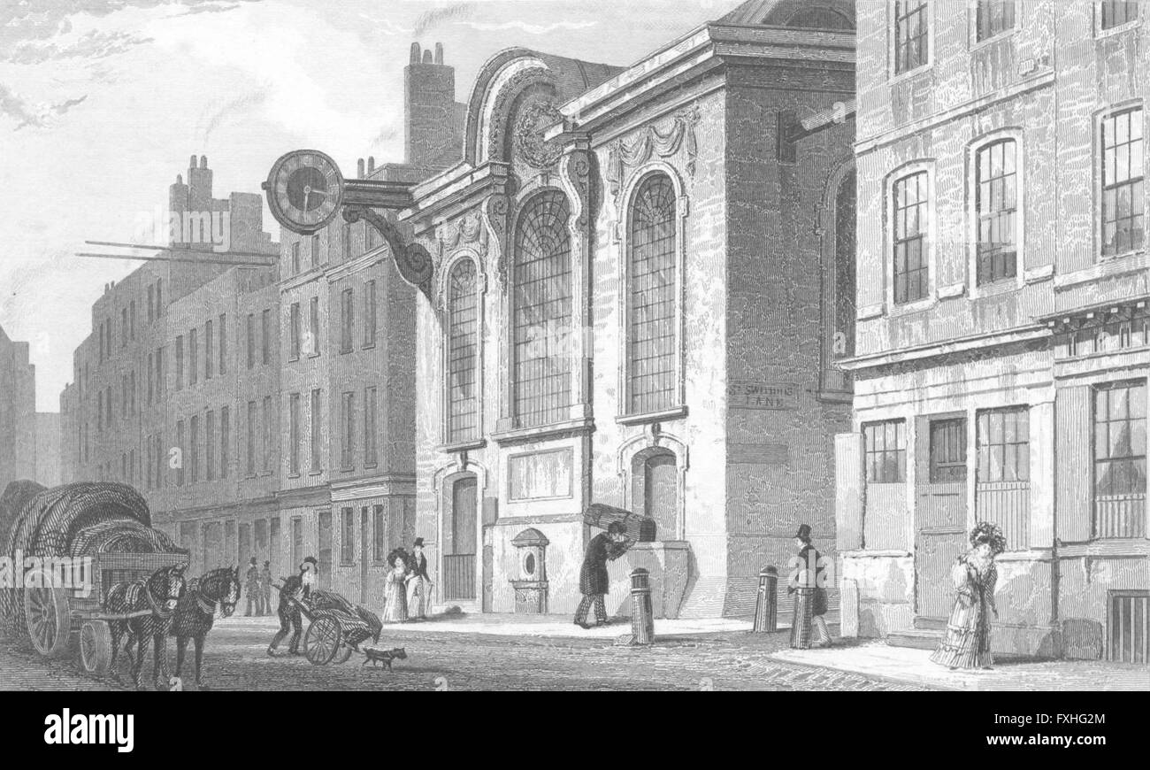 LONDON: St Swithin, Stone, Cannon, antique print c1830 - Stock Image