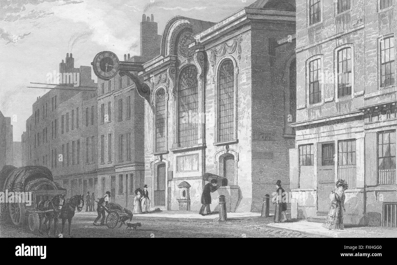 LONDON: St Swithin, Stone, Cannon Street, antique print c1830 - Stock Image