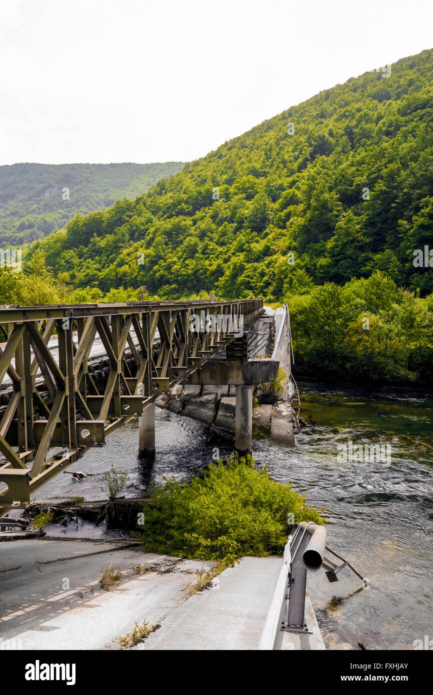 Bridge in Martin Brod was destroyed during Bosnia's Civil War. - Stock Image
