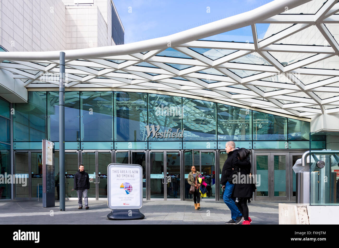 One of the entrances to the Westfield Shopping Centre in Shepherds Bush, London. - Stock Image
