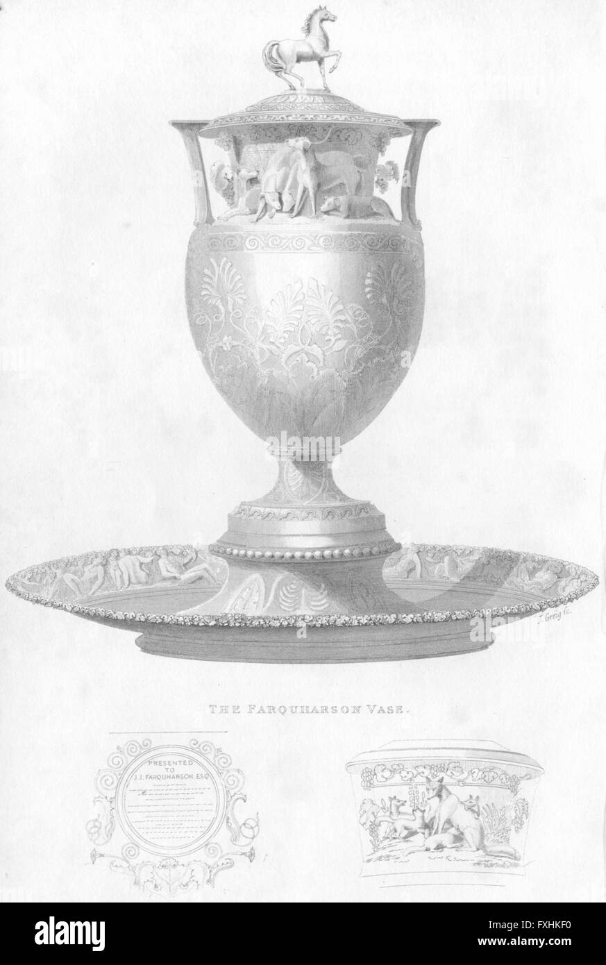 DECORATIVE: The Farquharson Vase, antique print 1834 - Stock Image