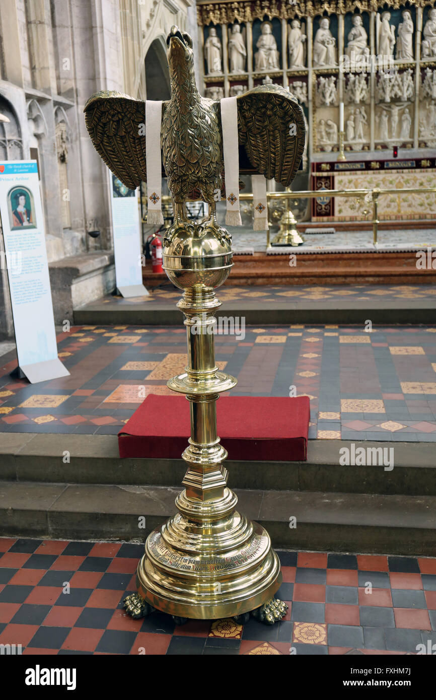 Brass eagle lectern St Laurence church Ludlow - Stock Image