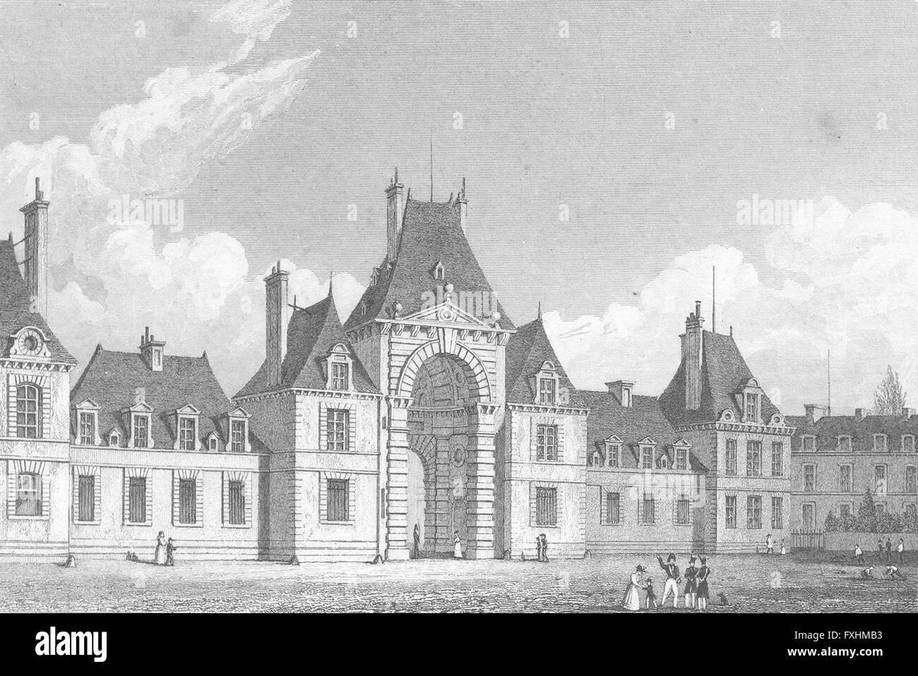 FRANCE: Fontainebleau Place D'armes: Pugin Paris, antique print 1828 - Stock Image
