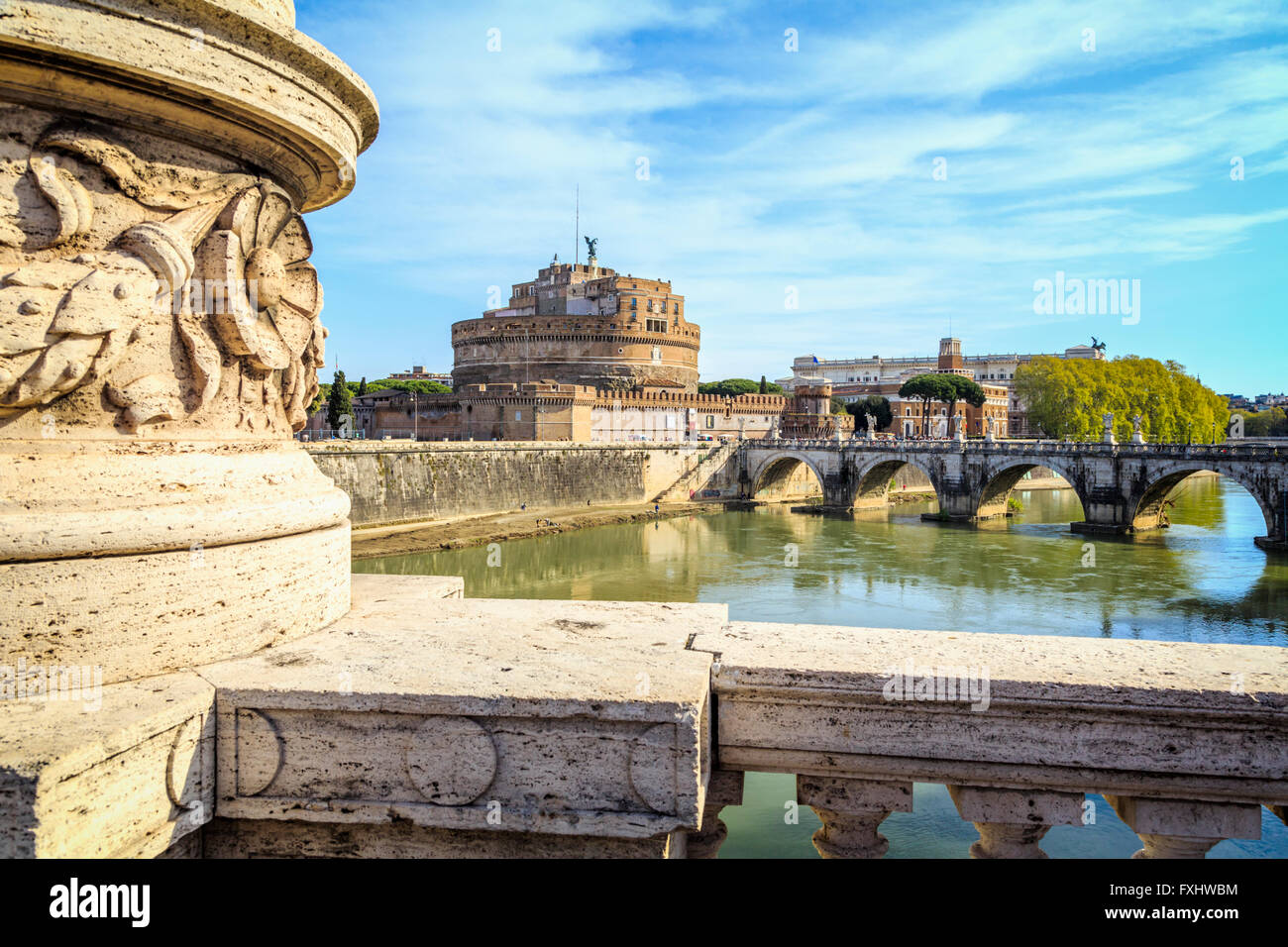 Rome, Italy. Castel Sant'Angelo and Ponte Sant'Angelo seen from Ponte Vittorio Emanuele II. - Stock Image
