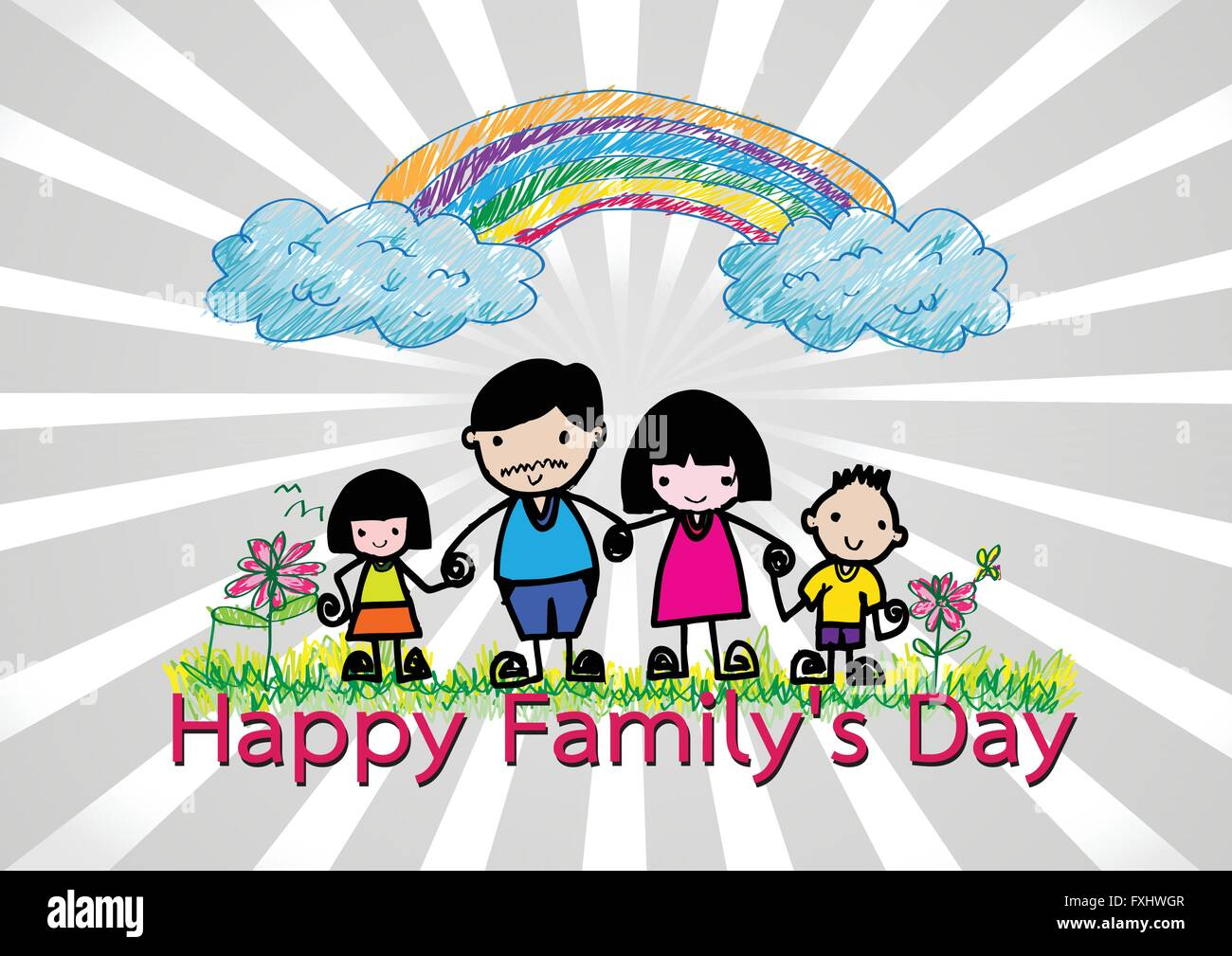 Happy family 's day  father, mother, son , girl idea design - Stock Vector