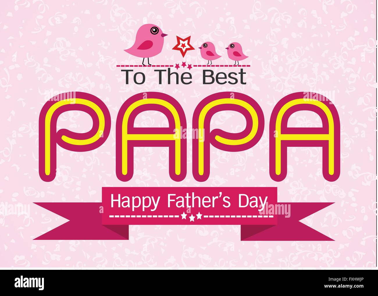 Happy Fathers Day Card Love Papa Or Dad Stock Vector Art