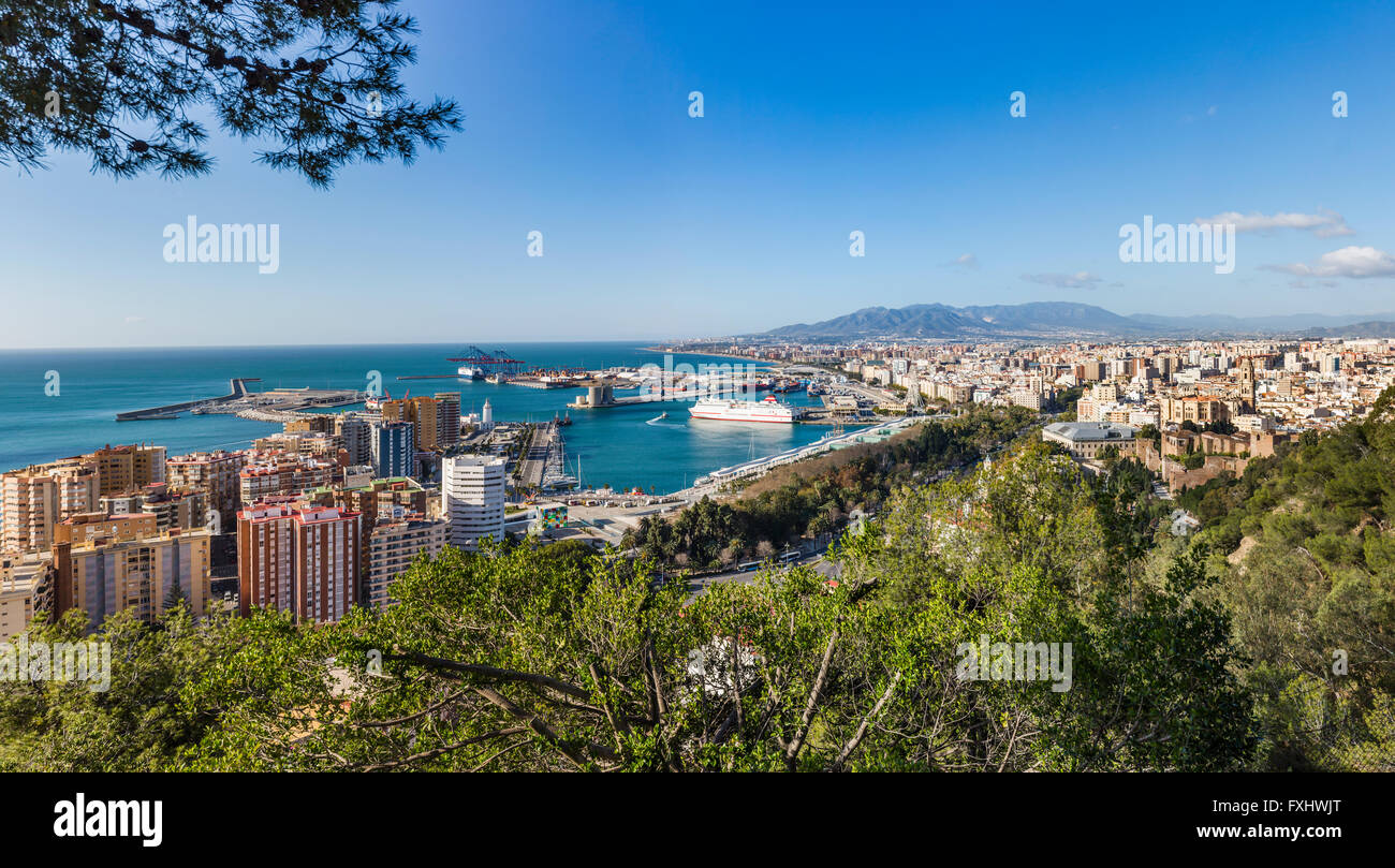 Malaga, Costa del Sol, Malaga Province, Andalusia, southern Spain.  Classic view from the Parador Nacional - Stock Image