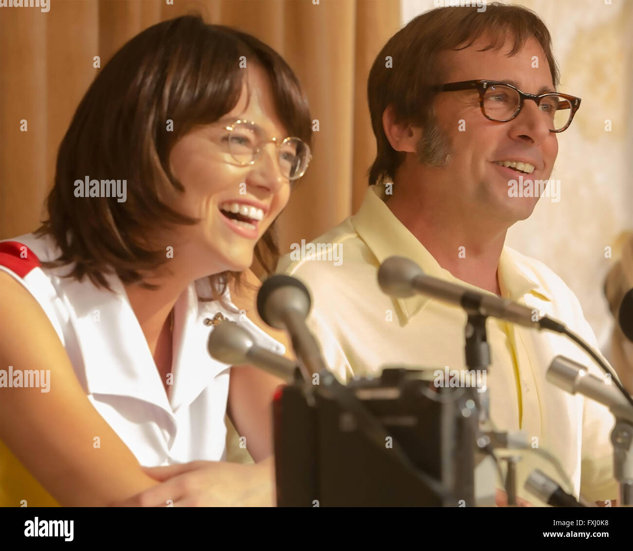 BATTLE OF THE SEXES 2016 Fox Searchlight film with Emma Stone and Steve Carell - Stock Image