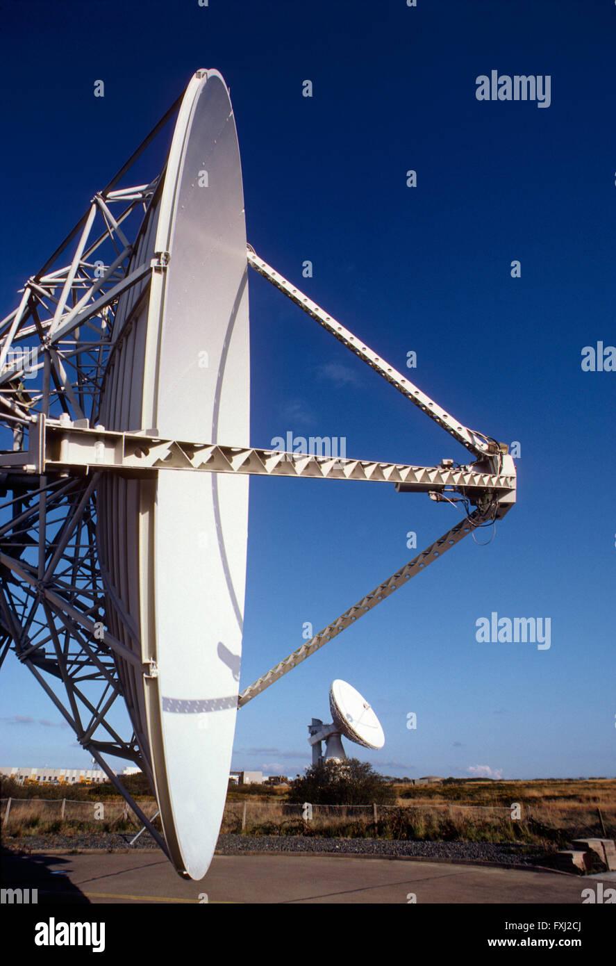 Telecommunications satellite dish near Cornwall: England - Stock Image