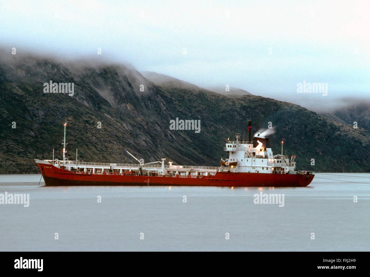 Dusk view; annual supply ship; Pangnirtung; Baffin Island; Nunavut; Canada Stock Photo
