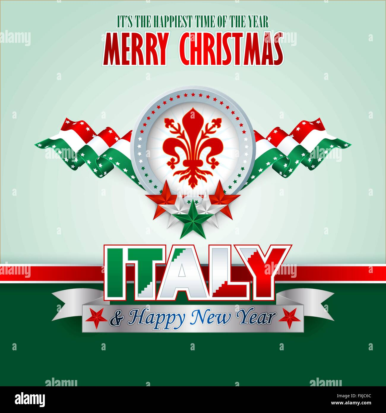 merry christmas background with florence coat of arms on national flag colors for italian christmas