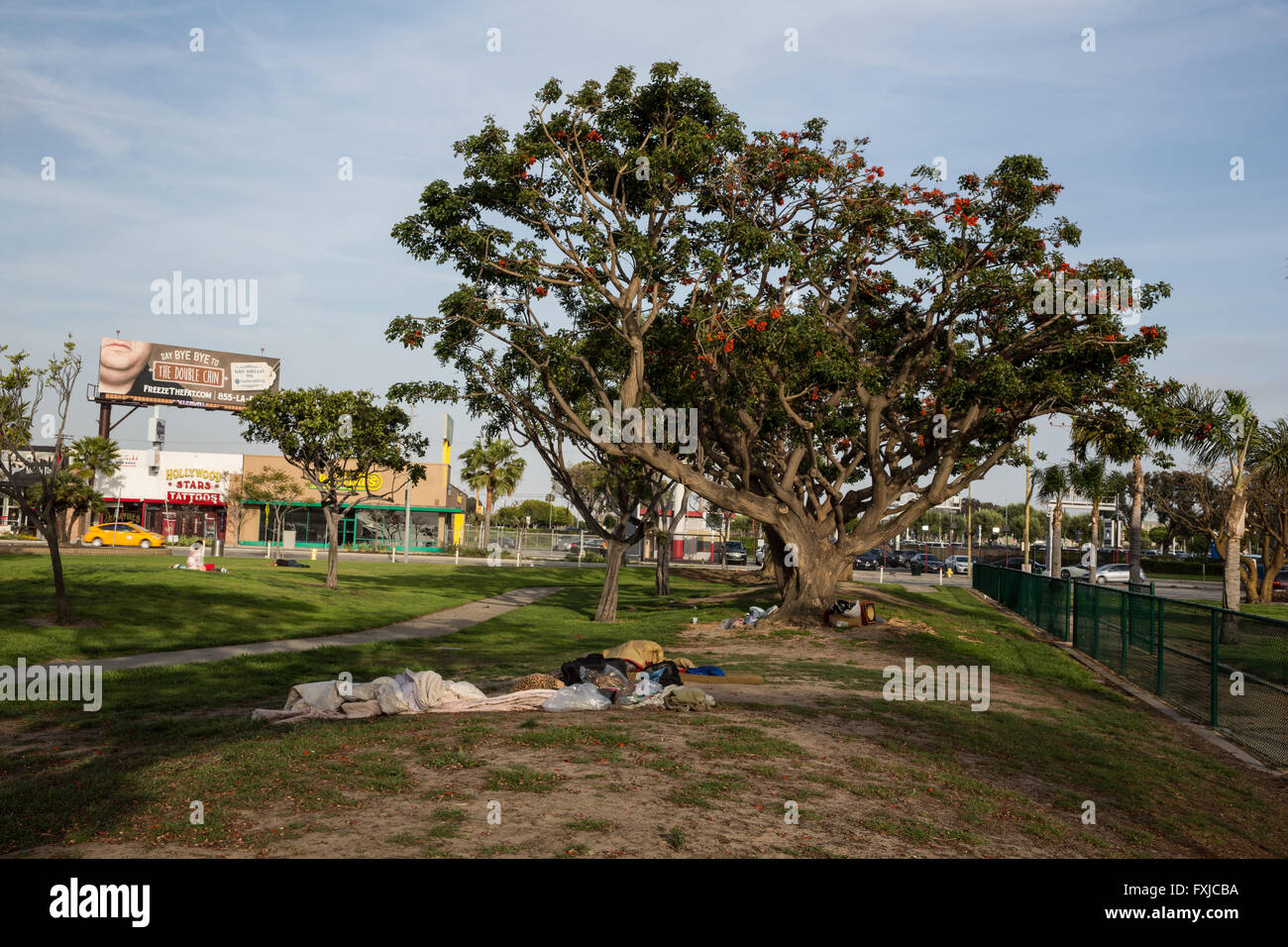 Homeless camp outside of LAX - Stock Image