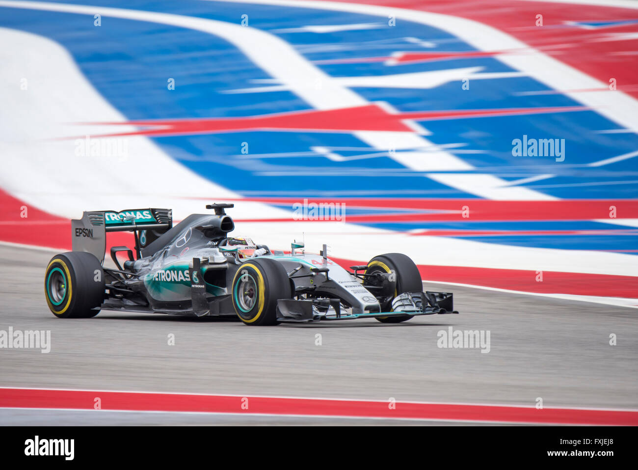 Lewis Hamilton of Mercedes AMG Petronas seen on the final lap of the 2015 United States Grand Prix at Circuit of Stock Photo