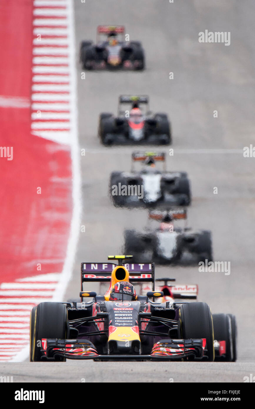 Daniil Kvyat of Red Bull leads a group of cars into turn 11 at Circuit of the Americas during the 2015 United States - Stock Image