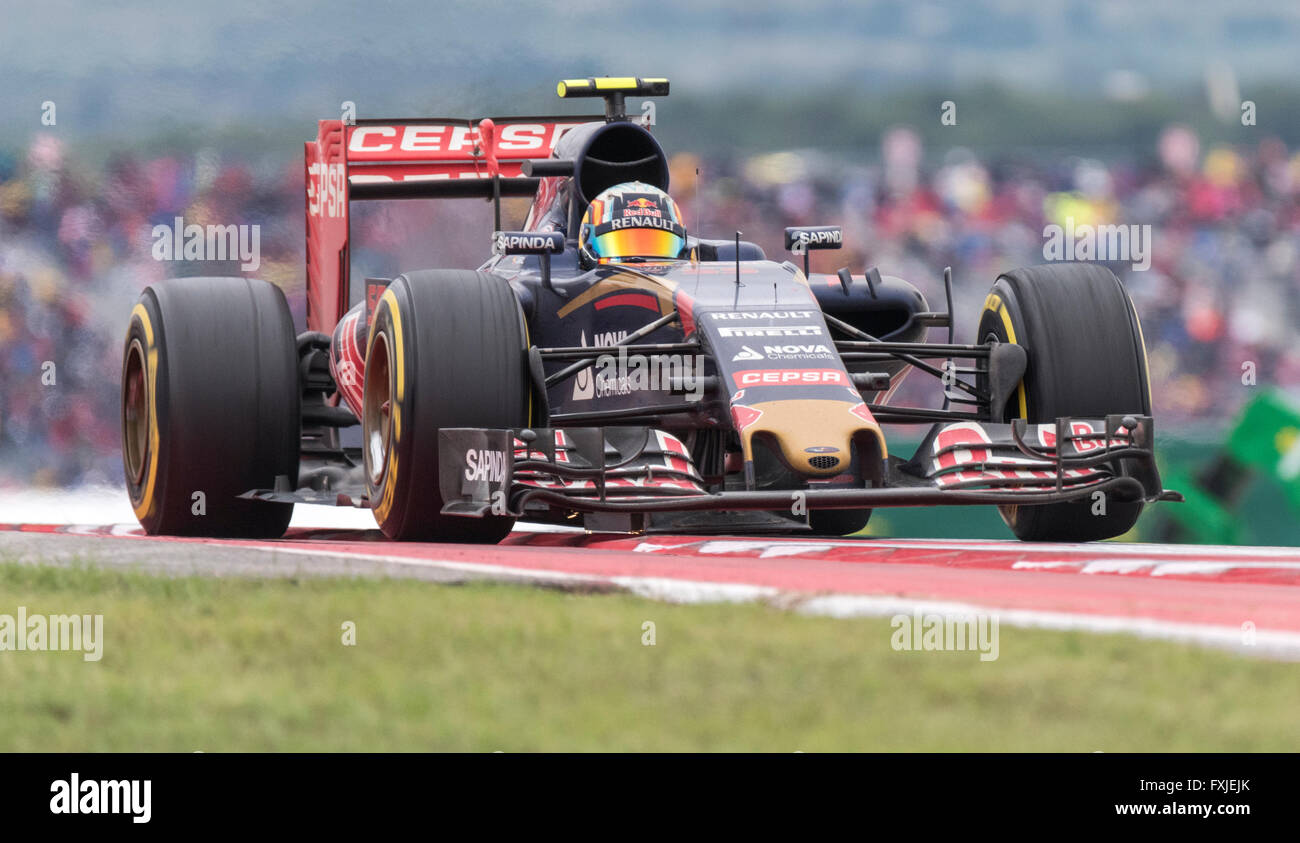 Carlos Sainz Jr. of Scuderia Toro Rosso crests the hill at turn 9 of Circuit of the Americas during the 2015 US Stock Photo