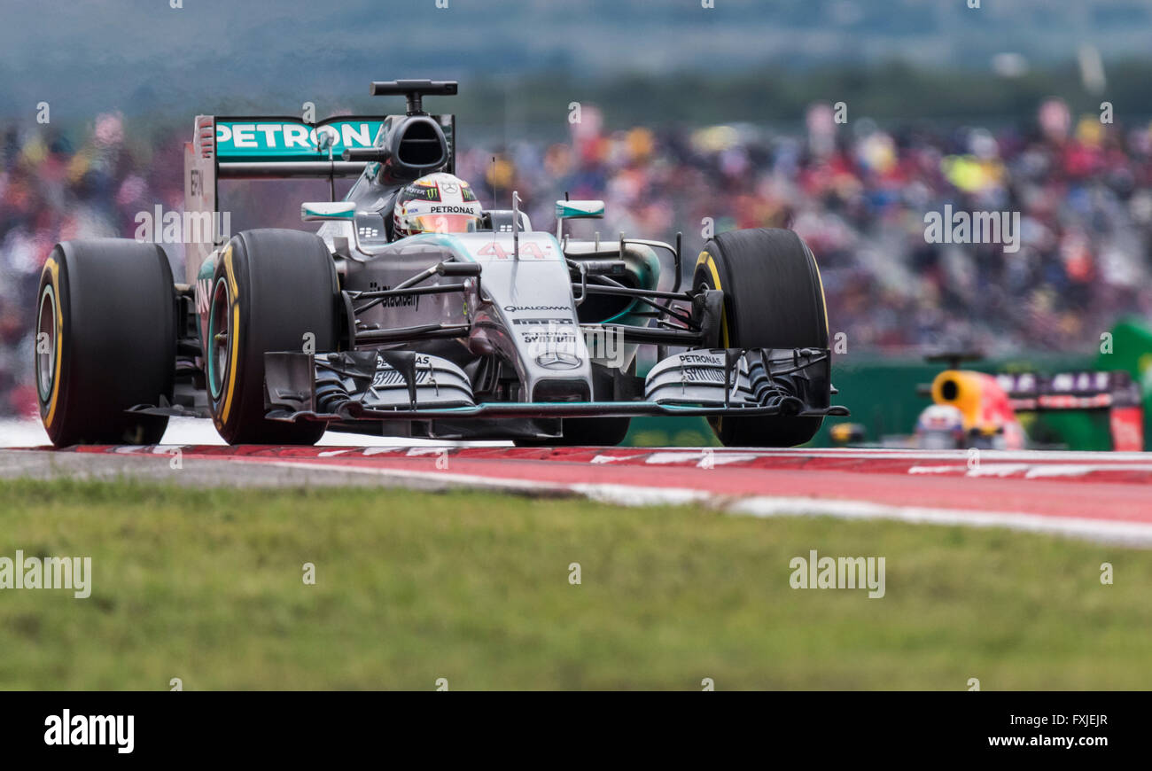 Lewis Hamilton of Mercedes AMG Petronas crests the hill at turn 9 of Circuit of the Americas during the 2015 US Stock Photo