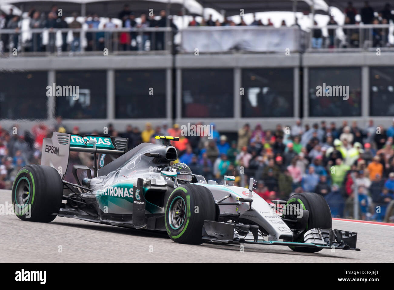 Nico Rosberg of Mercedes AMG Petronas seen during the 2015 United States Formula 1 Grand Prix at Circuit of the Stock Photo