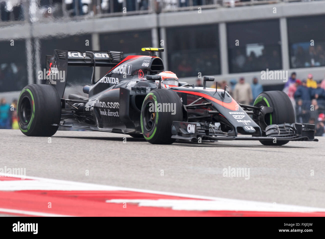 Jenson Button of McLaren Honda seen during the 2015 United States Formula 1 Grand Prix at Circuit of the Americas, - Stock Image