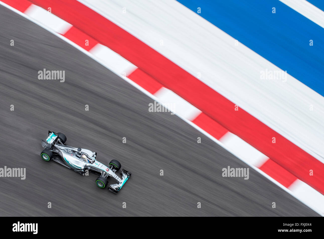 Lewis Hamilton of Mercedes AMG Petronas seen from above during FP1 before the 2015 US Grand Prix at Circuit of the Stock Photo