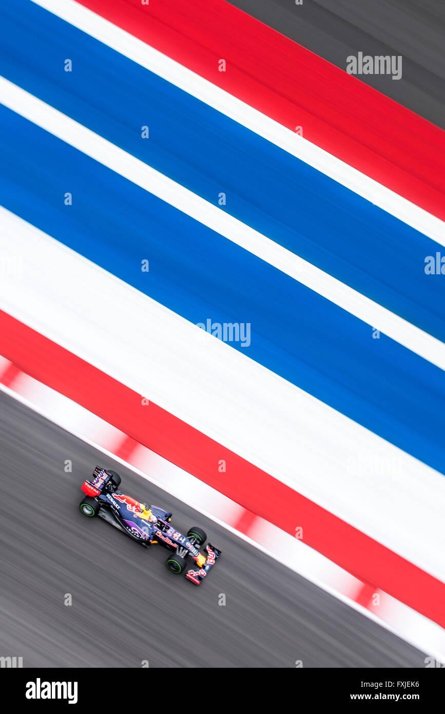 Daniel Ricciardo of Infiniti Red Bull Racing seen during FP1 prior to the 2015 US Grand Prix at Circuit of the Americas, Stock Photo