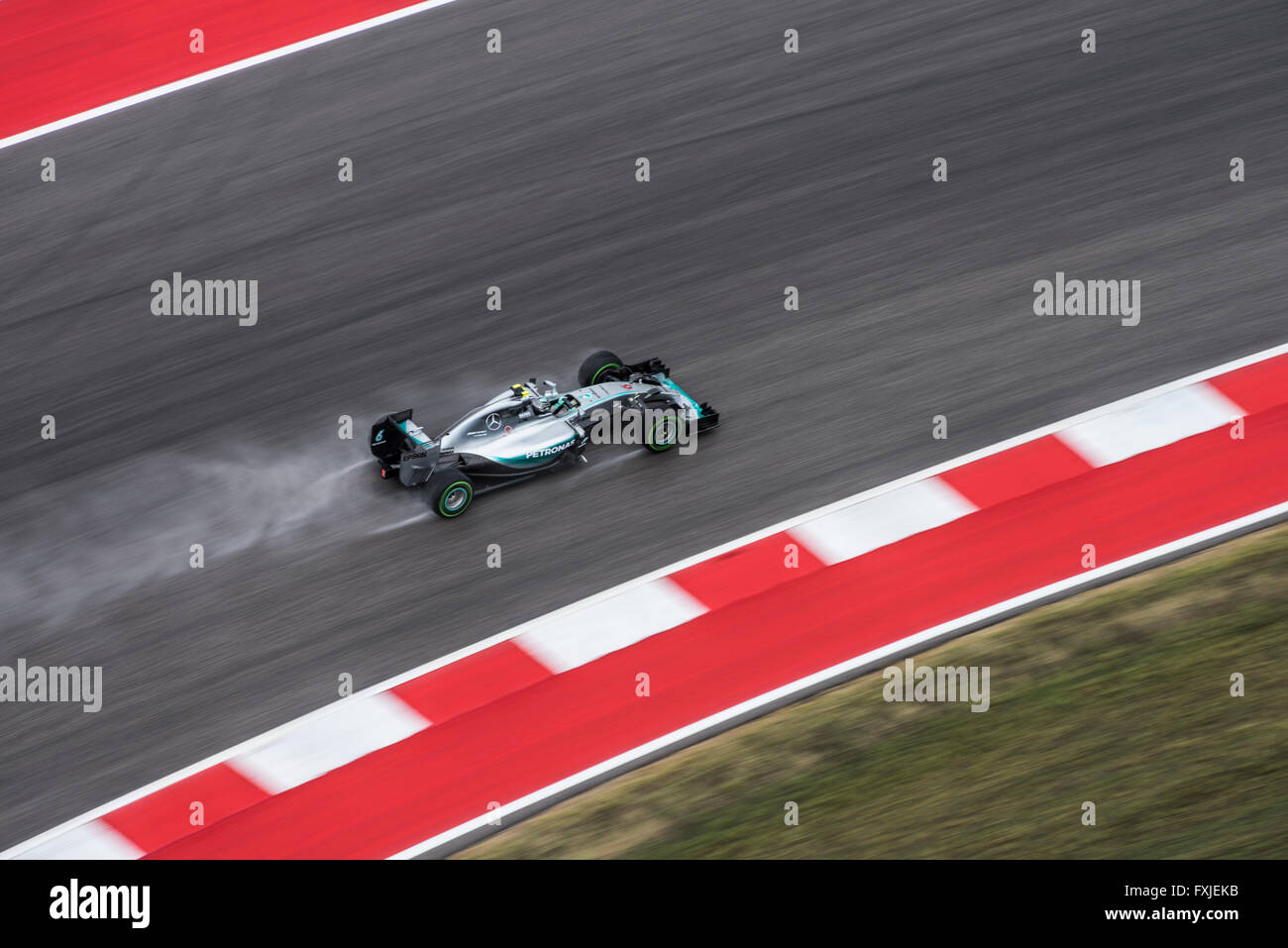 Nico Rosberg seen during a rainy FP1 session prior to the 2015 US Grand Prix in Austin, Texas. Stock Photo