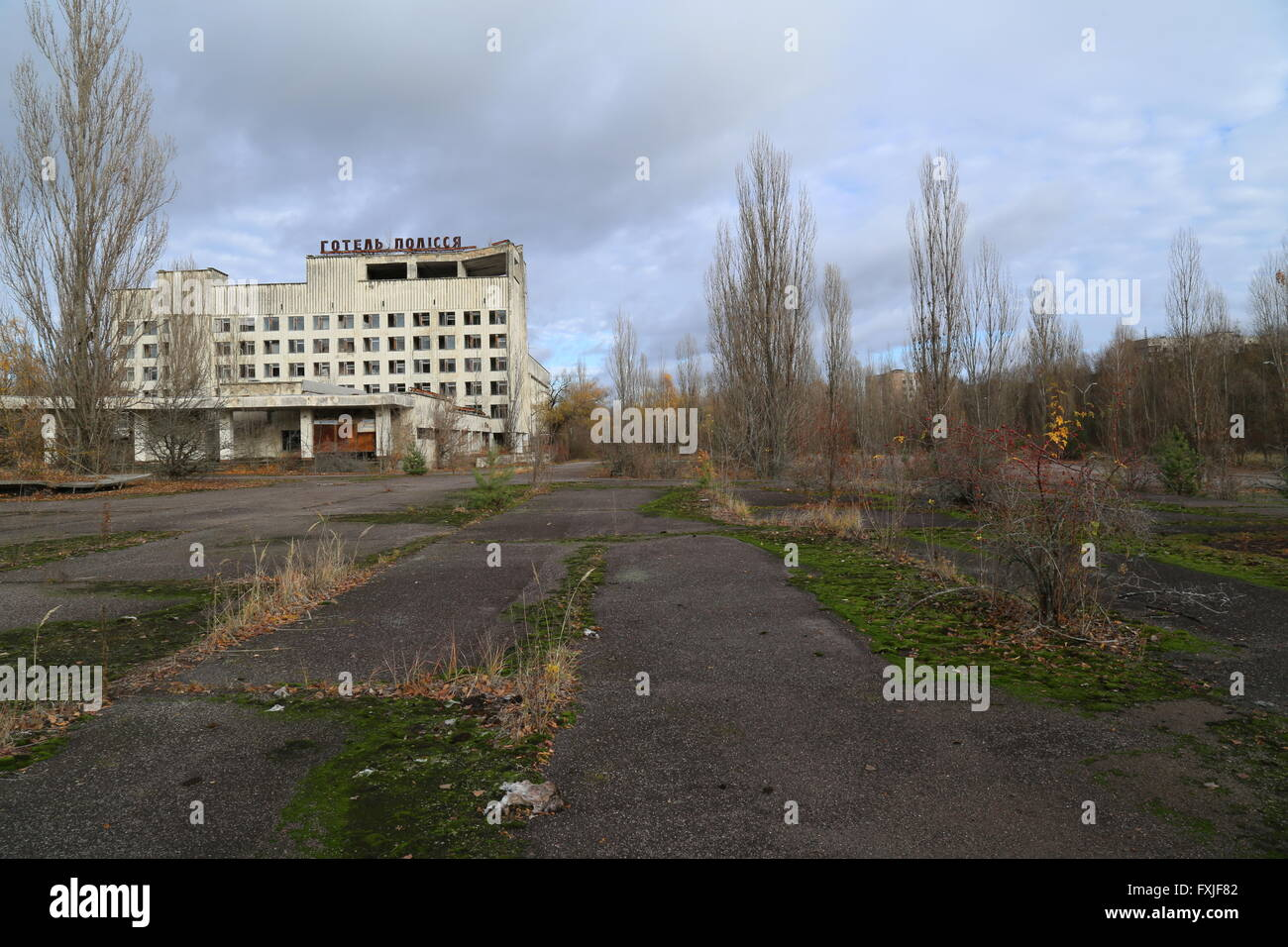 The abandoned city of Pripyat, Chernobyl Exclusion Zone, Ukraine - Stock Image