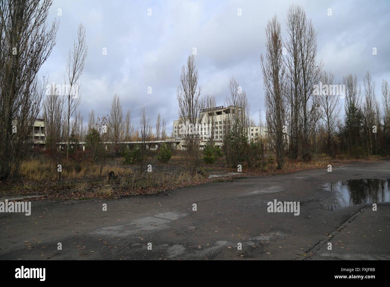 The abandoned city of Pripyat, Chernobyl Exclusion Zone, Ukraine - Stock Image
