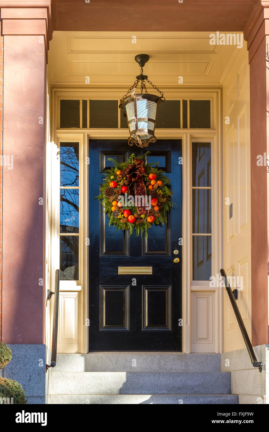 Christmas wreath adorning Beacon Hill houses , Boston ,MA , USA - Stock Image
