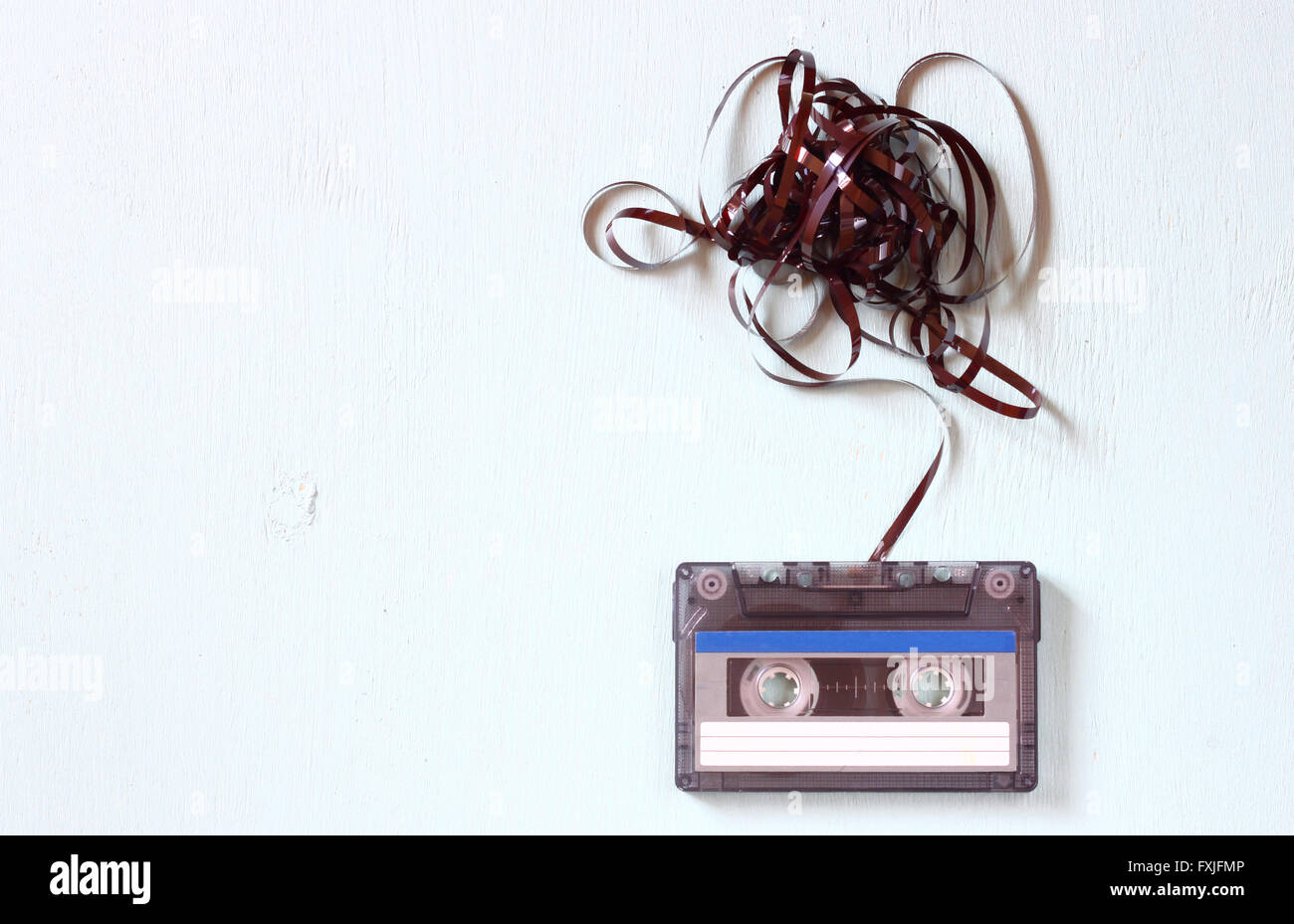 Audio cassette tape with subtracted out tape - Stock Image