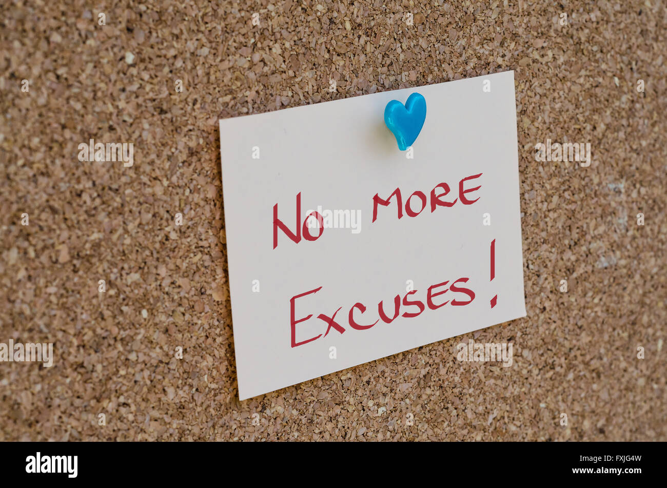 NO EXCUSES. Motivational concept written on a note - Stock Image