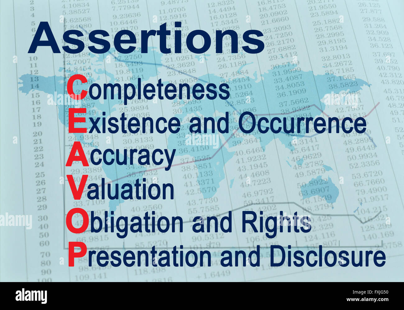 Assertions CEAVOP - Financial auditing acronym - Stock Image