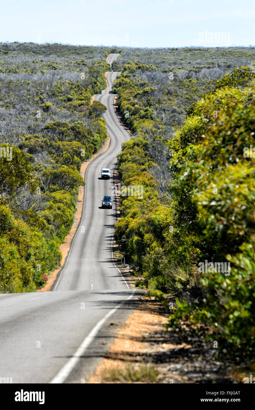 Road to Cape du Couedic, Kangaroo Island, South Australia, SA, Australia - Stock Image