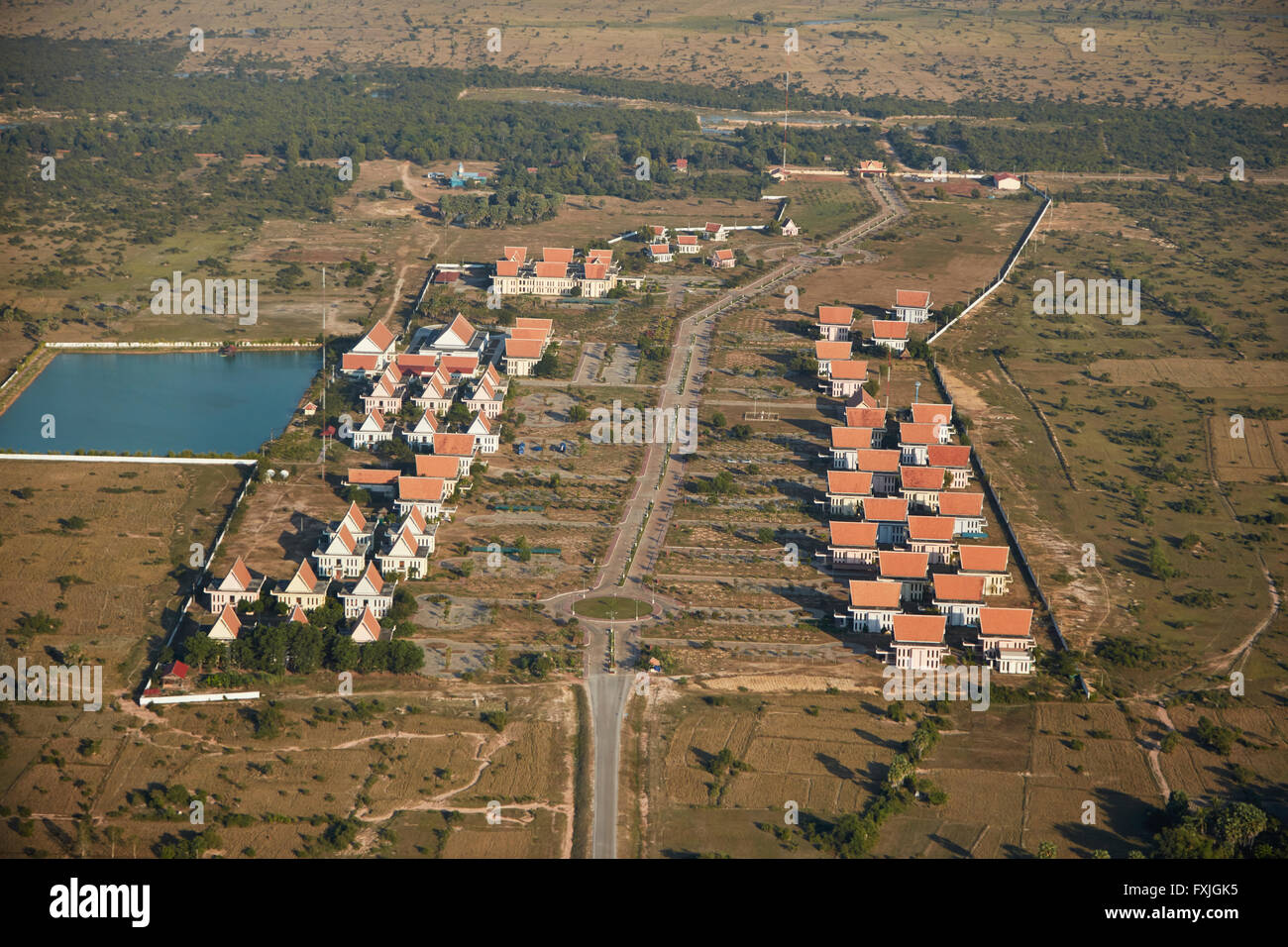 APSARA Authority offices (in charge of looking after Angkor Archaeological Park), near Siem Reap, Cambodia - aerial - Stock Image