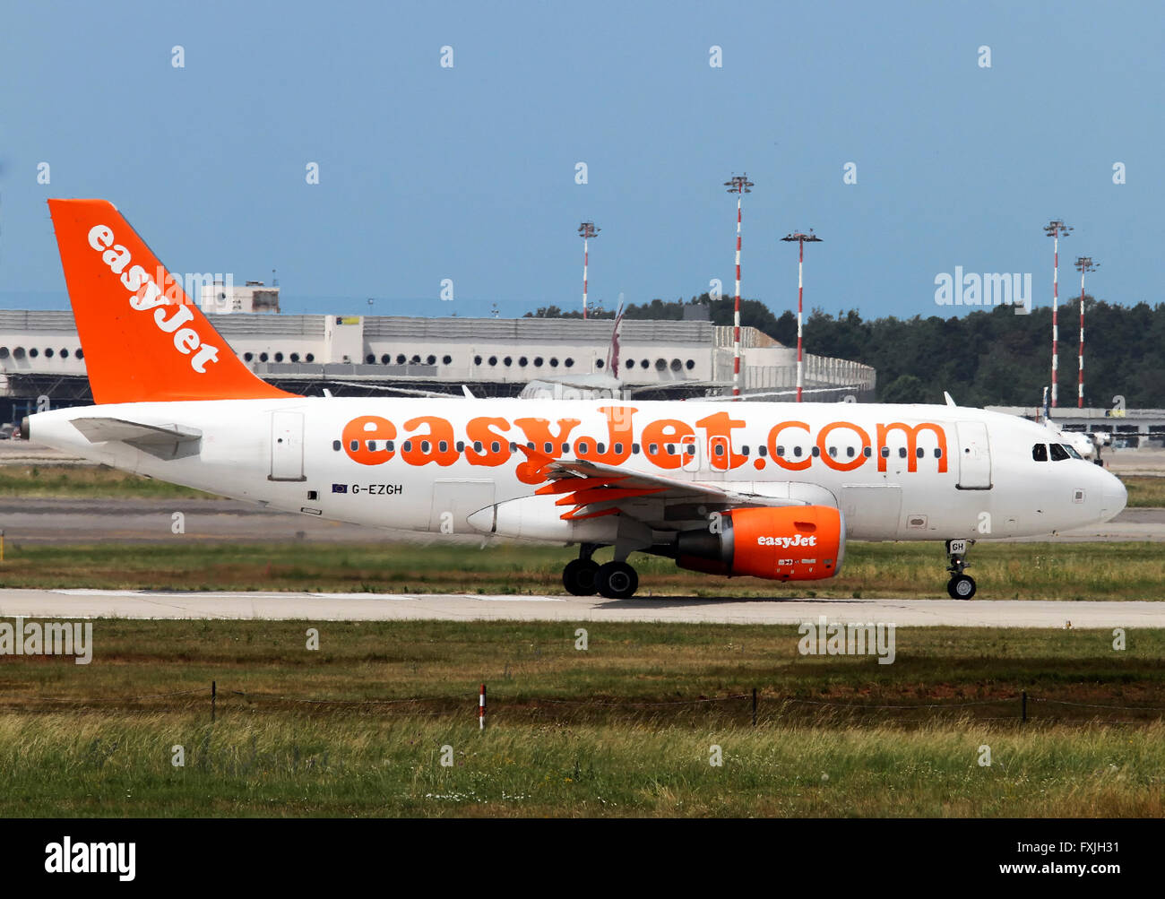 EasyJet, Airbus A319-111 on the ground at  Linate, Milan, Italy - Stock Image