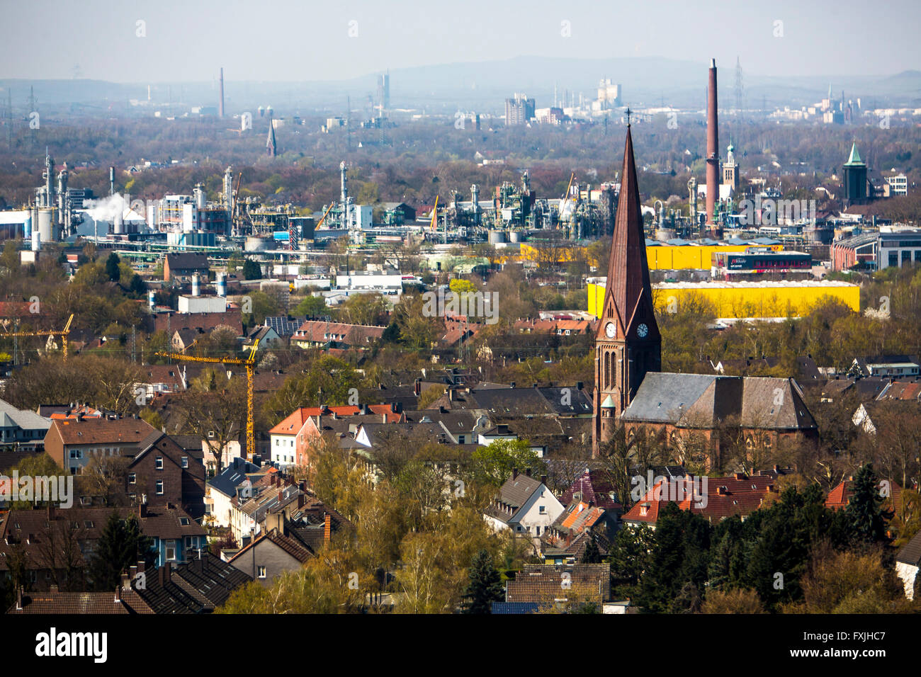 Overlooking Herne Gelsenkirchen, in the middle of Chemical Works of Evonik Industries AG in Herne, Front St. Francis - Stock Image