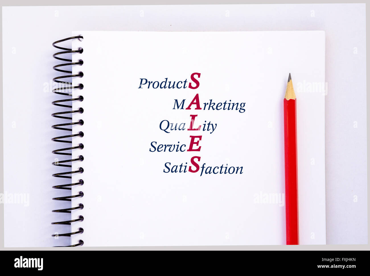 Acronym SALES - Products, Marketing, Quality, Service, Satisfaction. Concept - Stock Image