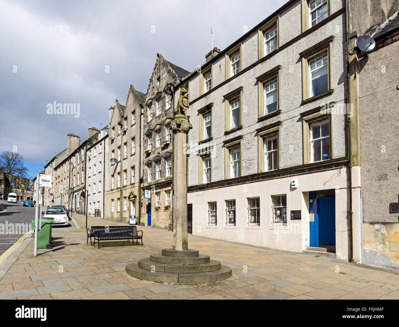 The Mercat Cross at the bottom of Broad Street Stirling Scotland - Stock Image