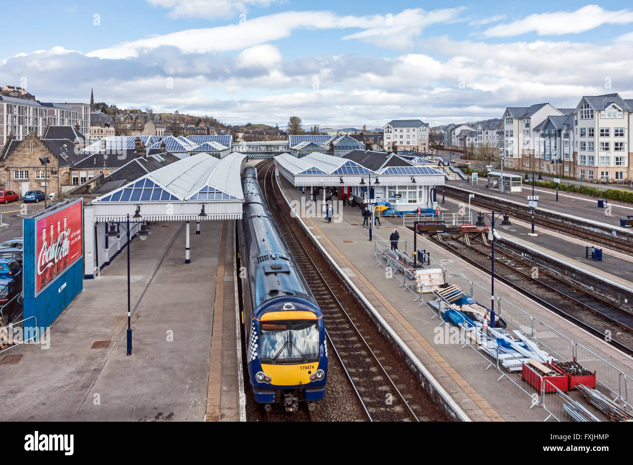 Northbound Scotrail Class 170 DMU arriving at Stirling Railway Station in Stirling Scotland - Stock Image
