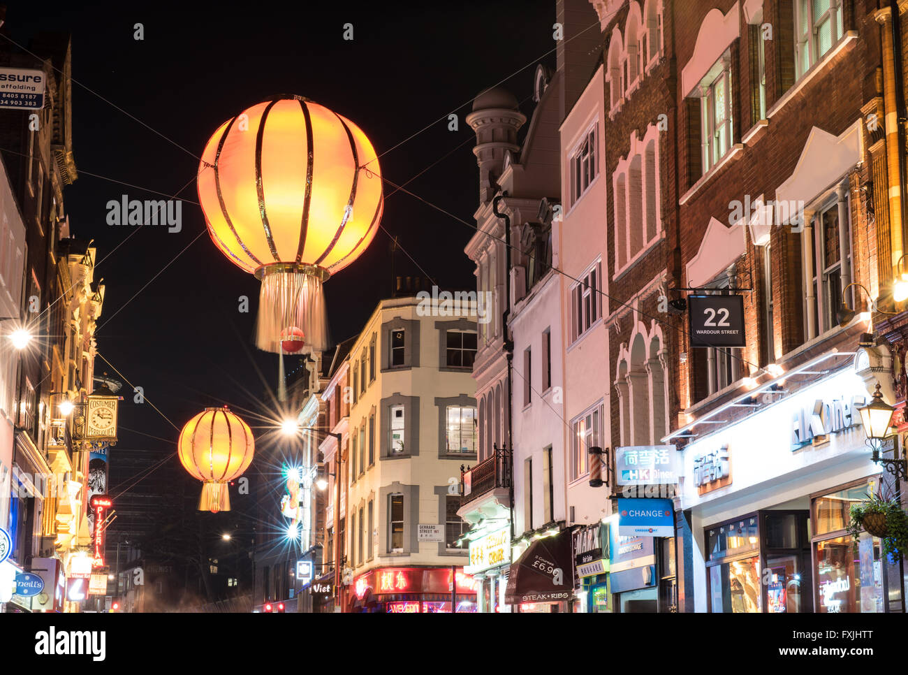 Wardour Street, Chinatown, London during Chinese New Year Stock Photo