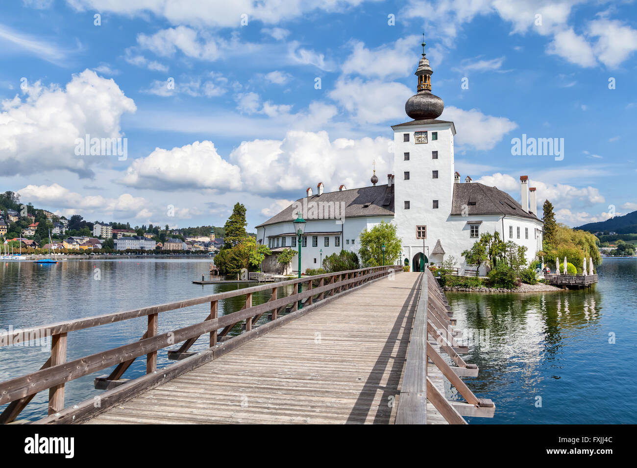 Schloss Ort on Traunsee lake near Gmunden, Austria - Stock Image