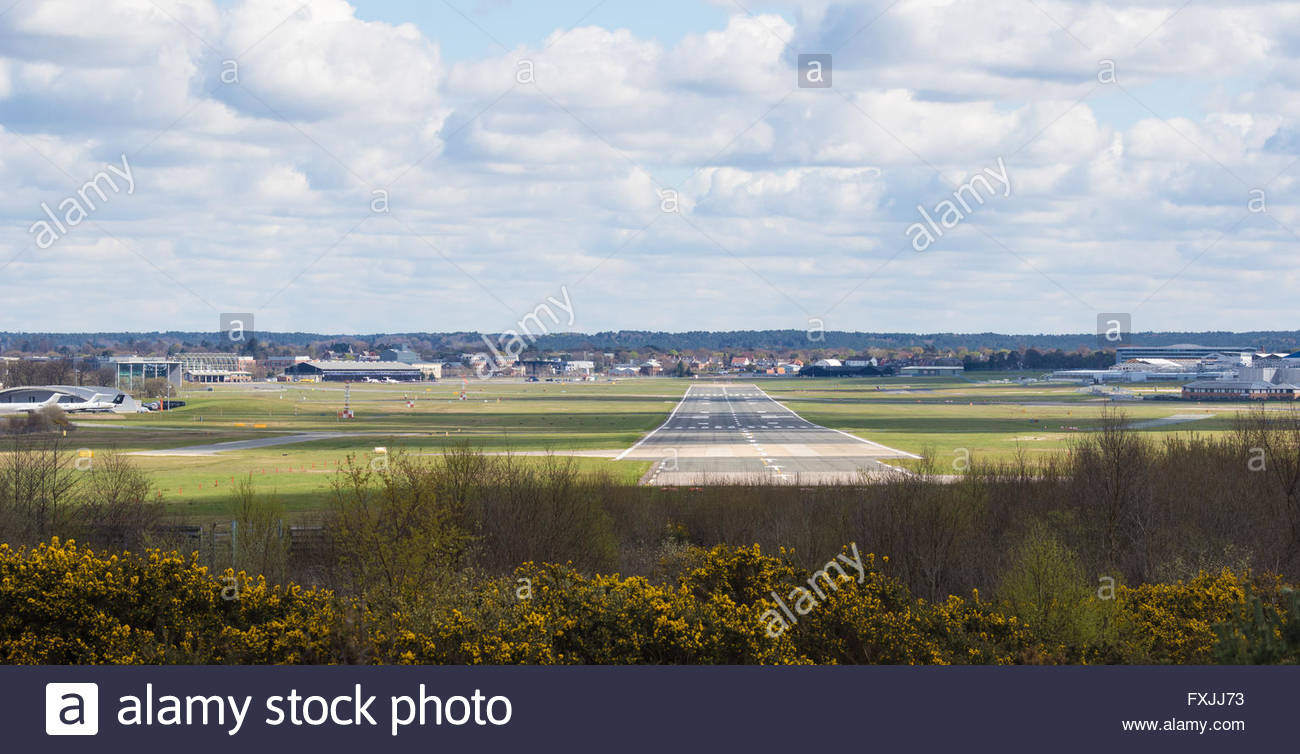 With three months to go before the Farnborough International Airshow 2016 preparations are well underway. - Stock Image