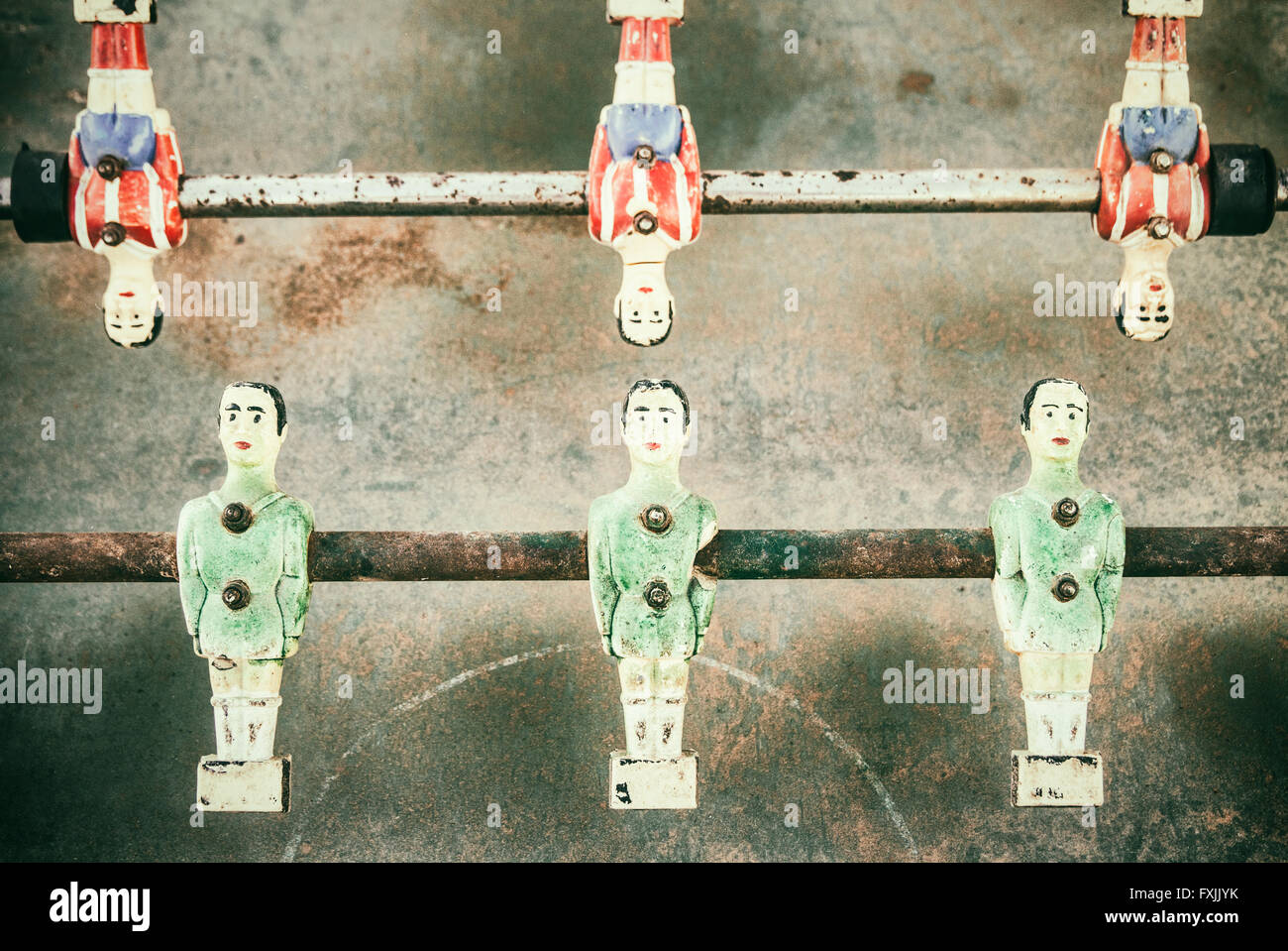 Old rusted table football game - Stock Image