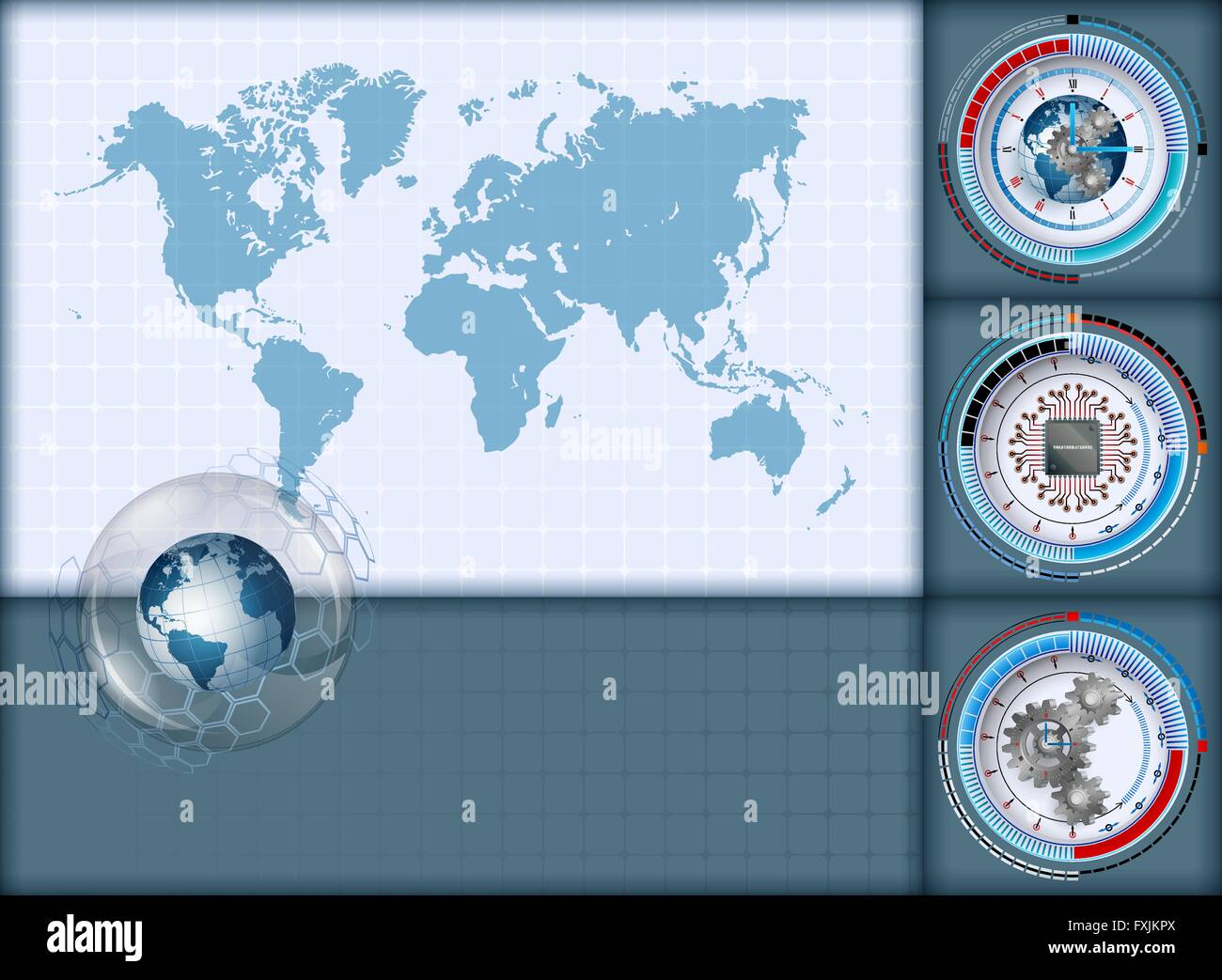 Design layout template with world map and earth globe inside sphere design layout template with world map and earth globe inside sphere of glass sphere with three different graduated devices gumiabroncs Image collections