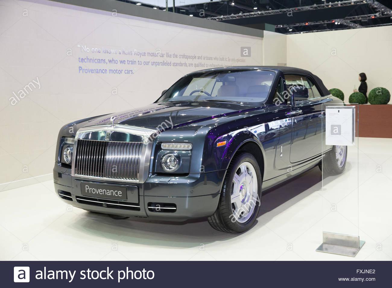 BANGKOK - MARCH 22: Roll Royce Provenance car on display at The 37 th Thailand Bangkok International  Motor Show - Stock Image