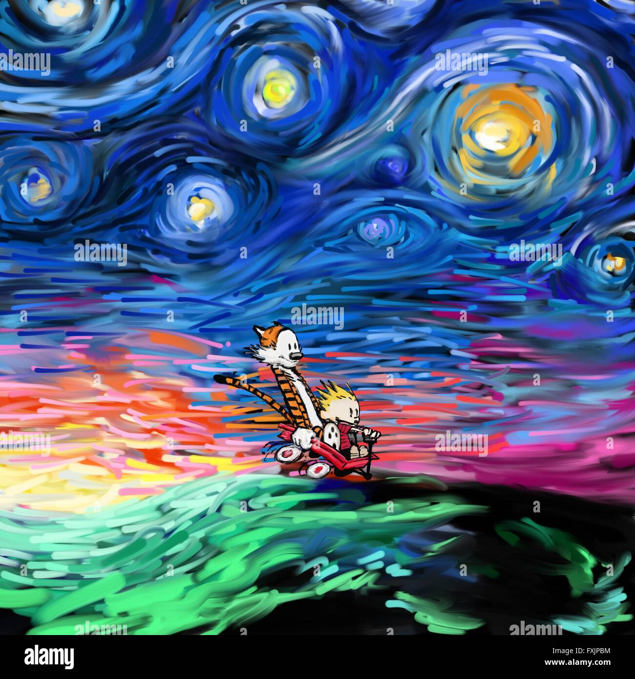 Calvin And Hobbes On Vincent Van Gogh S Starry Night Painting Effect Stock Photo 102445608 Alamy